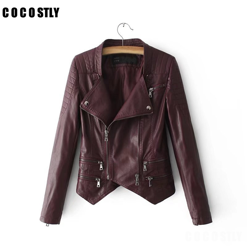 High Quality Motorcycle Leather Jackets Women PU Leather Coats with Belt chaqueta Bomber outwear Jack Fall jaqueta couro