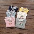Chicas top de manga larga 2017 nuevo bebé de la muchacha ropa de otoño sólida camisetas del bebé de la cereza turleneck encaje debajo de la camisa para los niños