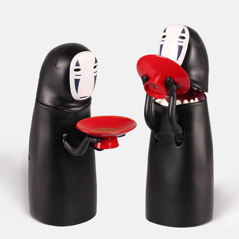 Japanese anime Original kawaii spirited away faceless man action figure model funny electric big mouth piggy bank no face male piggy bank hiccup sound money coin storage container bins kids toys funny gadgets anime action figure 3 styles