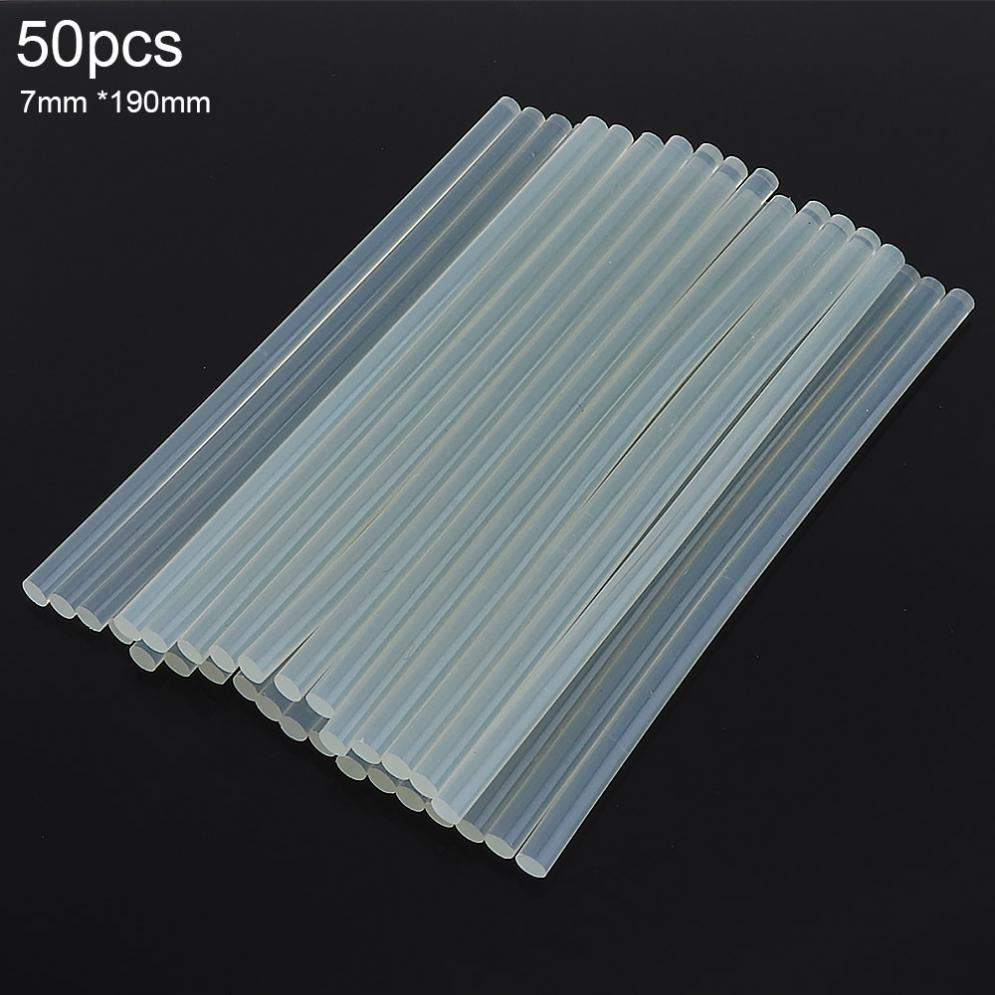 50pcs/set 7mmx190mm Transparent Hot-melt Gun Glue Sticks Gun Adhesive DIY Tools for Hot-melt Glue Gun Repair Alloy Accessoriess diy hot melt adhesive glue gun stick 10 pcs