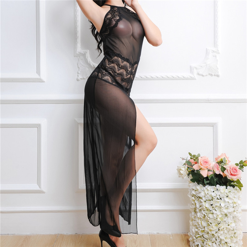 YUFEIDA Sexy Women Nightgowns & Sleepshirts Three Quarter O Neck Nightgowns Solid Full Lace Transparnet Perspective Dress