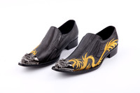 Mocassin Homme Italian Loafers For Men Black Genuine Leather Mens Pointed Toe Dress Shoes High Heel