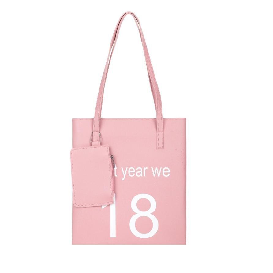 2018 Новейшие женские модные буквы Искусственная кожа сумки дамы сплошной цвет сумки Сумка + клатч # F