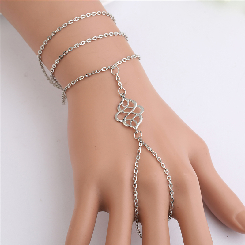 Big Brand Jewelry Single Slave Chain Vintage Hollow Metal Flower Bracelet Through Finger Hand Chain Harness For Girls 5B438 chain