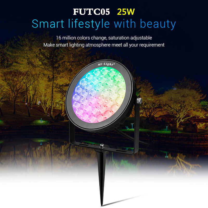 2100lm 25w rgb cct smart outdoor led lamp landscape light for garden ac 220v wifi phone app 2 4ghz remote alexa voice control