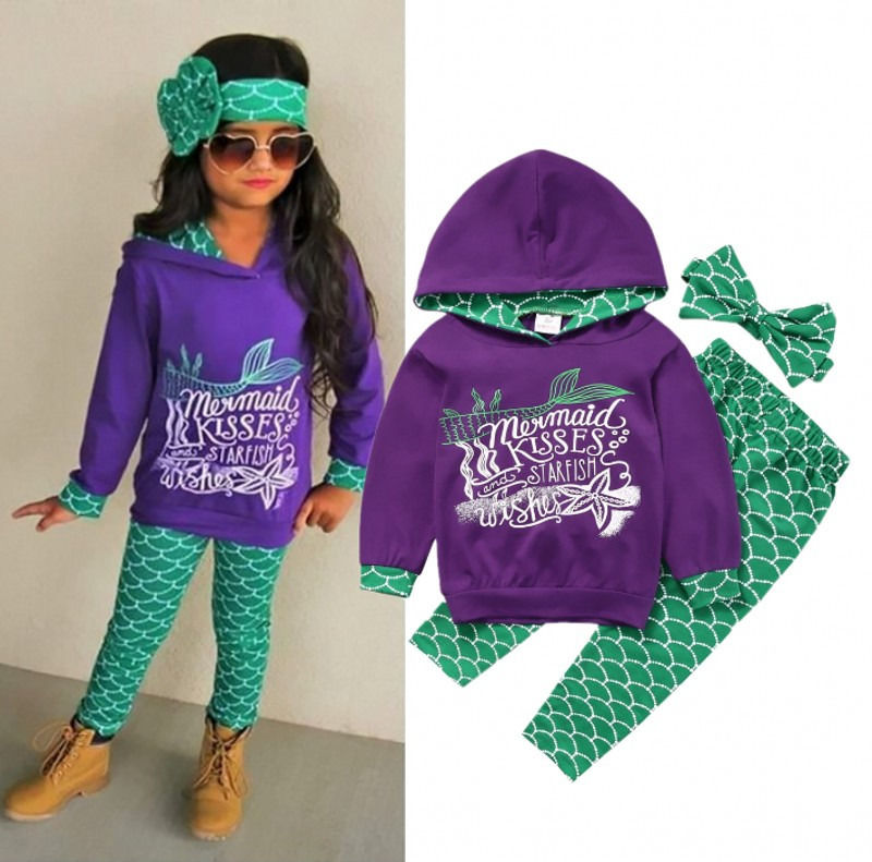3 Pcs Girls Kids Mermaid Clothing Set Toddler Baby Kids Girl Hooded Top Pants headband Letter