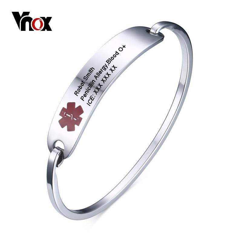 Vnox Medical Alert ID Armband Für Frauen Männer Armreif Anpassen Gravieren Identifikation Edelstahl Notfall Unisex Schmuck