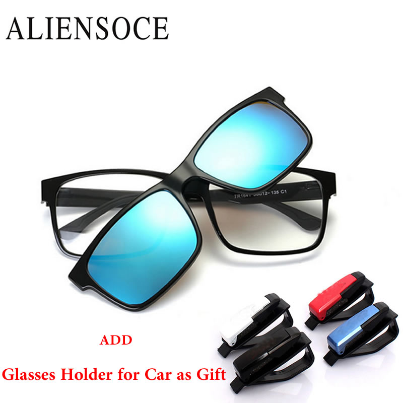 ALIENSOCE Polarized Magnetic Clip on Sunglasses Magnet Frame Myopia Men Glasses Sun