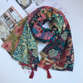 Totem Pattern Muffler Women's Shawl Vintage Contrast Voile Fabric w/ Tassels Wrap Brand New