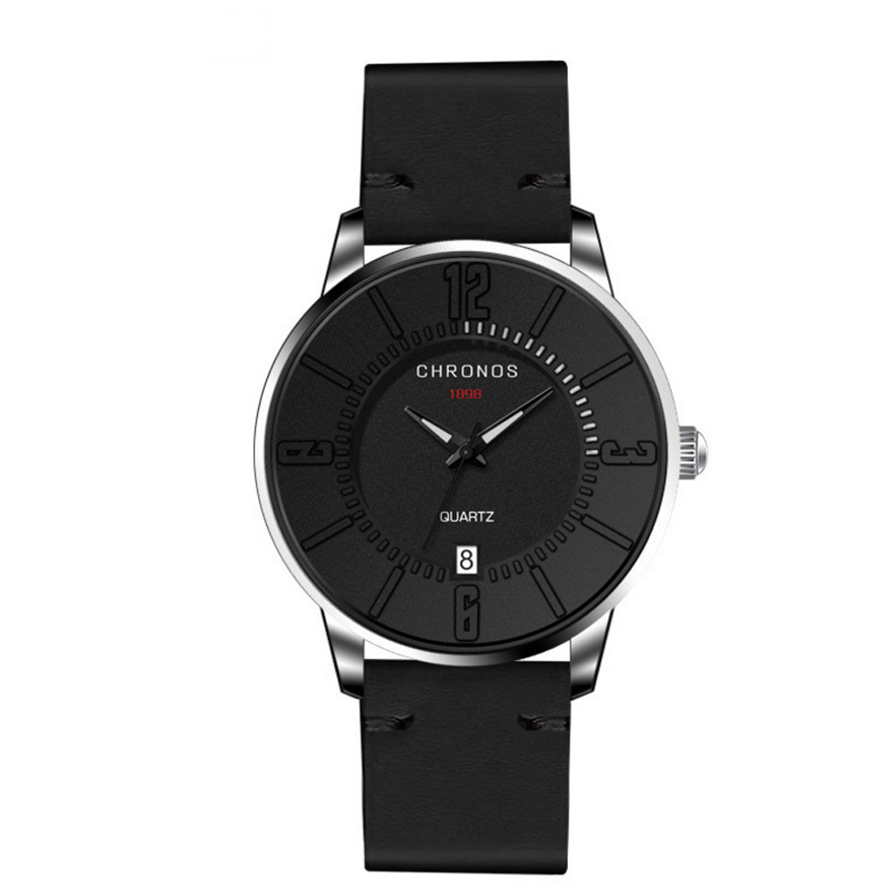 Glass Mirror Circular Dial Men Watches Case Calendar Business Quartz Wrist Watch Sports Luxury Relogio Masculino Saat Gift