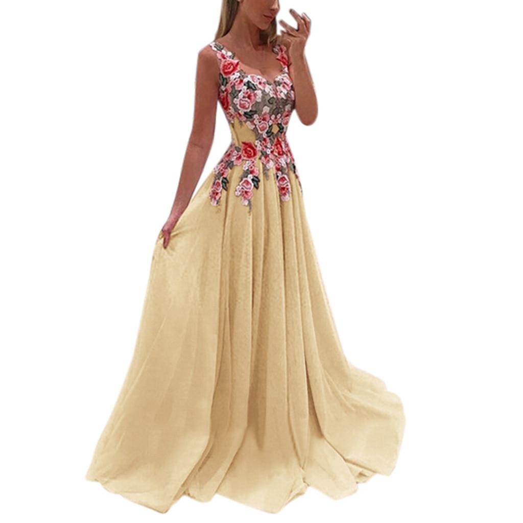 Summer Lace Applique O Neck Elegant Maxi Dress Women Sexy Dresses Sleeveless Floral Print Party Dress Vestidos Sukienki Feminino 5