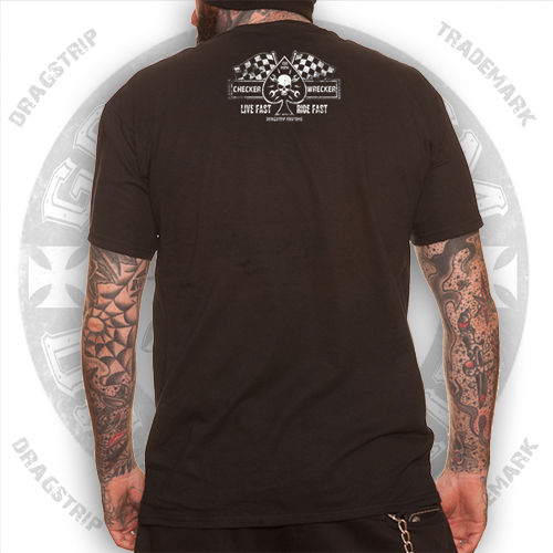 Plain Clothing Checker Wrecker Cafe Racer Greaser Tattoo Biker T shirt in T Shirts from Men 39 s Clothing