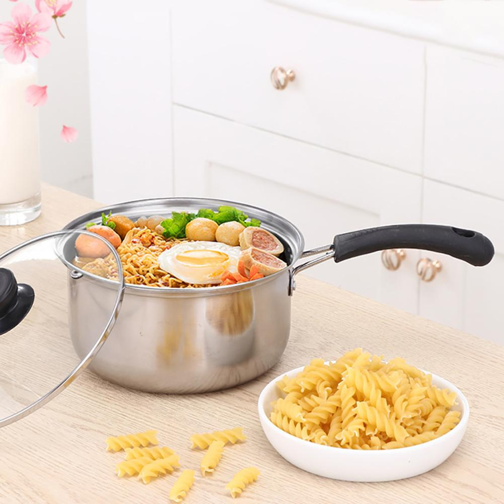 Pot Stainless Steel Milk Soup Noodle Saucepan Pan Pot With Glass Lid Onstick Skillet Non-stick Kitchen Cooking Tool Accessories