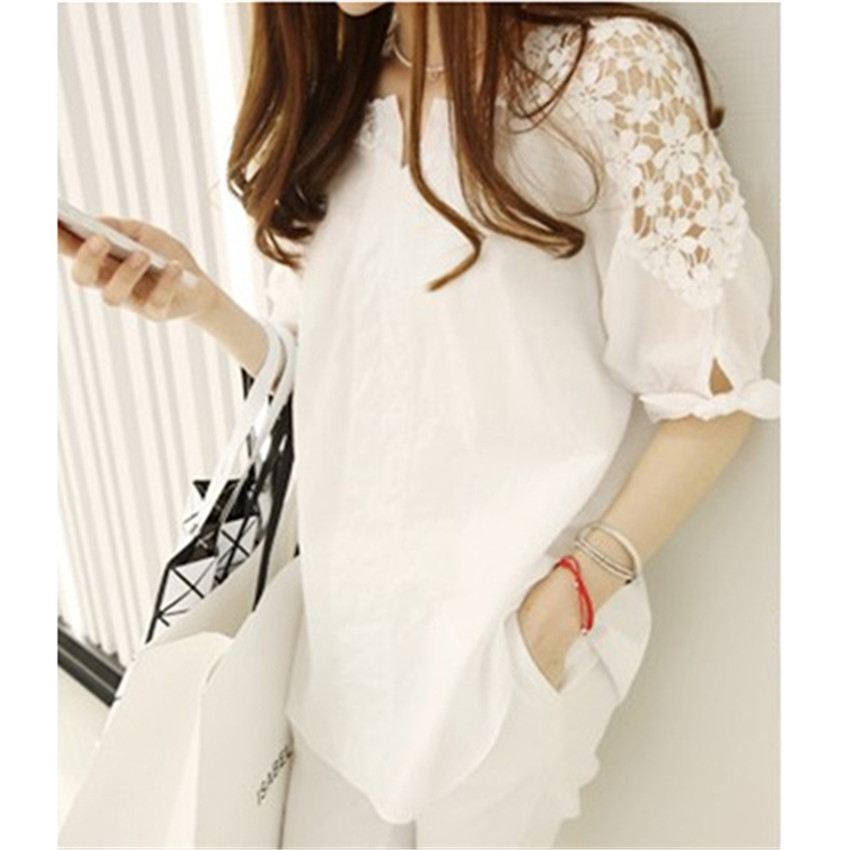 2018 New Spring Women White Hollow Out Blouse Summer Plus Size S-5XL Midi Long Lace Shirt Autumn Lady Blousas Basic Tops WZ310 4