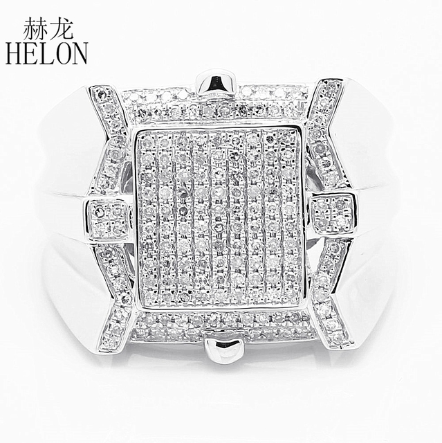HELON 925 Sterling Silver Pave 0.6ct Natural Diamonds Men's Band Fashion Ring Man Band Stylish Party Glamorous Wedding Ring