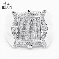 Helon 925 الاسترليني الفضة تمهيد الماس 0.6ct الطبيعية الرجال فرقة الموضة حلقة رجل باند خاتم الزفاف حزب براقة أنيقة