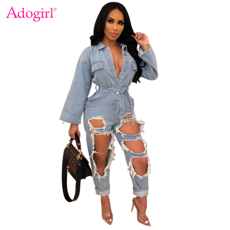 Adogirl Fashion Sexy Holes Jeans Jumpsuit Women Overalls Buttons Pockets Long Sleeve Soft Loose Casual Denim Romper Streetwear
