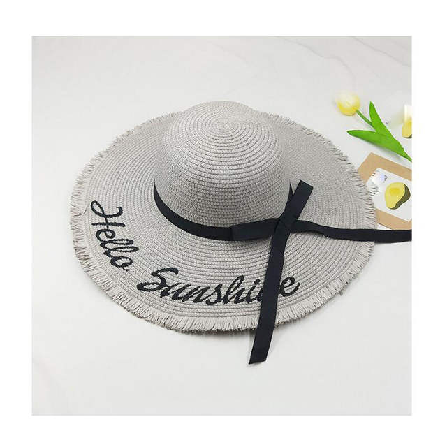 9c19ef44a 2018 Personalized Letter Embroidery Hello Sunshine Fringed beach hat summer  straw hat for women Honeymoon Nautical floppy hat