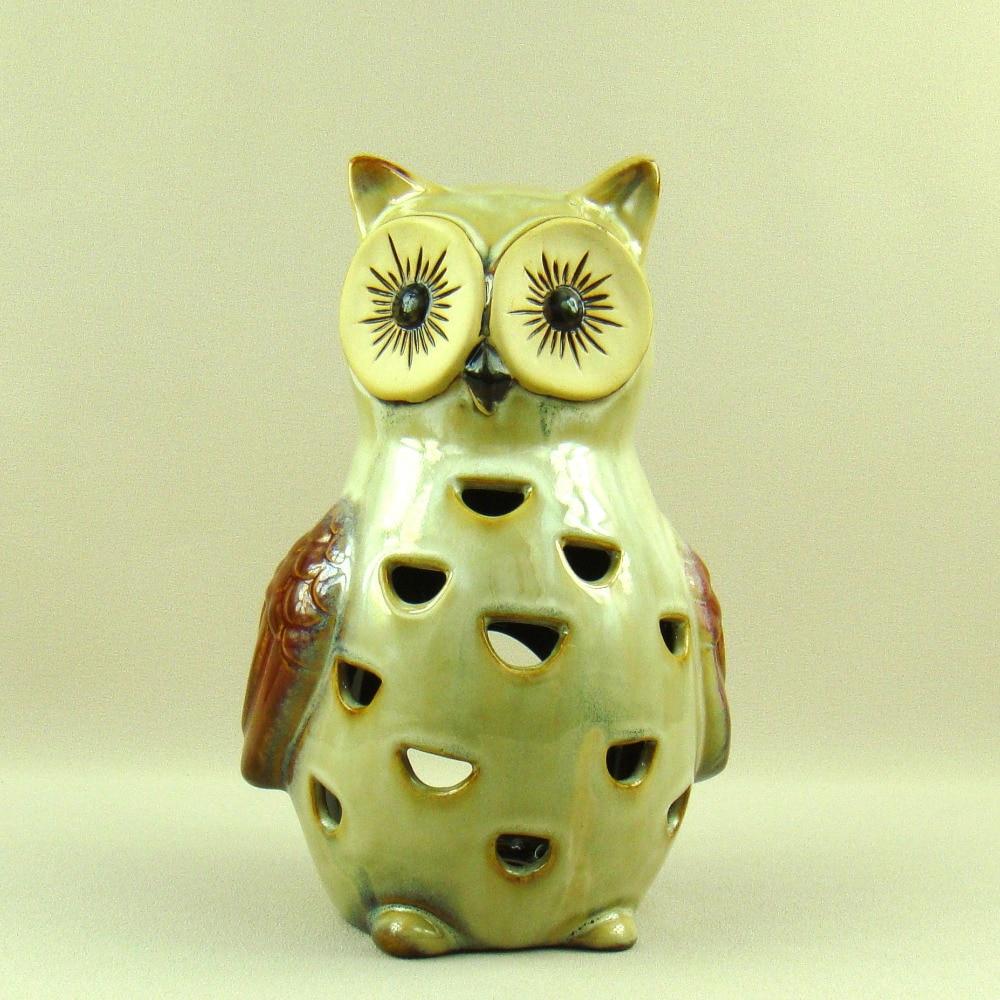 Smart Porcelain Owl Figurine Candle Holder Ornamental Cramic Nightjar Miniature Aroma Burner Household Decor Utensil Craft Accessories Strengthening Sinews And Bones Candles & Holders