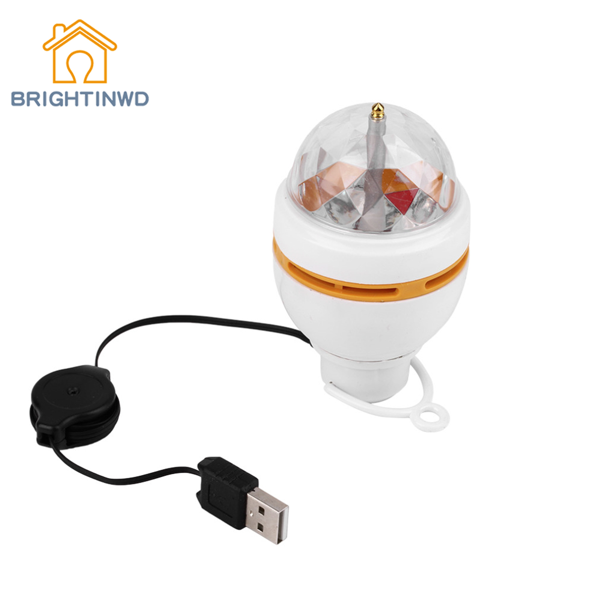 BRIGHTINWD Portable Stage Light Auto Rotating Lamp with USB Interface Colorful 3W LED Disco DJ Party Music Crystal Magic Ball