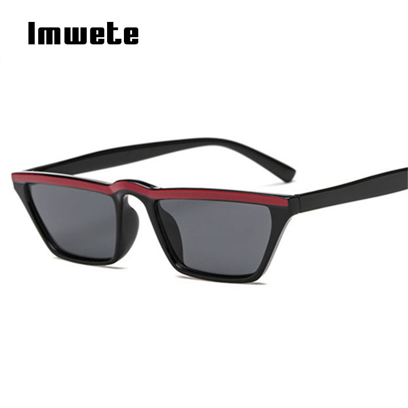 Imwete Small <font><b>Cat</b></font> <font><b>Eye</b></font> <font><b>Sunglasses</b></font> <font><b>Women</b></font> <font><b>Sexy</b></font> <font><b>Designer</b></font> <font><b>Brand</b></font> Fashion Cateye Frame Shades Vintage Flat top Eyewaer UV400 Goggles image