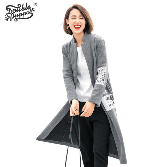 Doble títere 2017 nuevo otoño invierno del collar del soporte de manga larga y cremallera patrón tops mujeres de los bolsillos de parche diseño empalmado escudo 363019