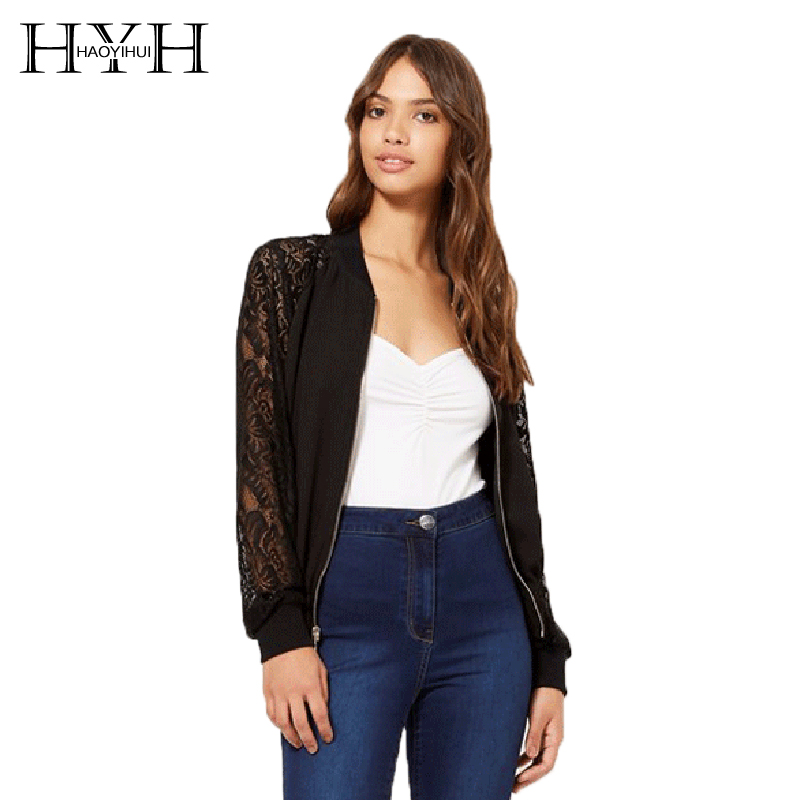 HYH HAOYIHUI Fashion Women Coats Lace Zipper Patchwork   Basic     Jacket   Chic Brief Bomber   Jacket   Autumn Casual Slim Female   Jacket