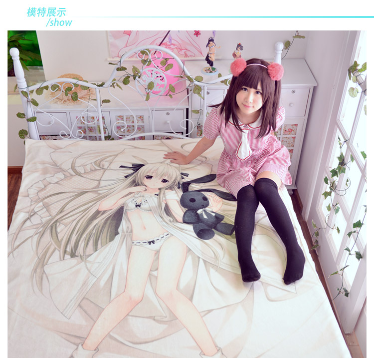 Japanese Anime Date A Live Bed sheet Throw Blanket Bedding Coverlet Cosplay Gifts Flat Sheet cd010 in Sheet from Home Garden