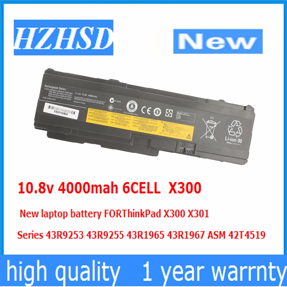10.8v 4000mah 6CELL X300 New Laptop Battery FOR ThinkPad X300 X301 Series 43R9253 43R9255 43R1965 43R1967 ASM 42T4519