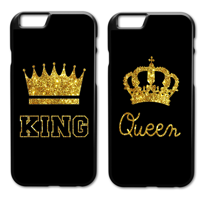 King Queen Cover Case for iPhone 4 4S 5 5S 5C SE 6 6S 7 8 Plus X Samsung Galaxy S3 S4 S5 Mini S6 S7 S8 Edge Plus A3 A5 A7 E5 E7