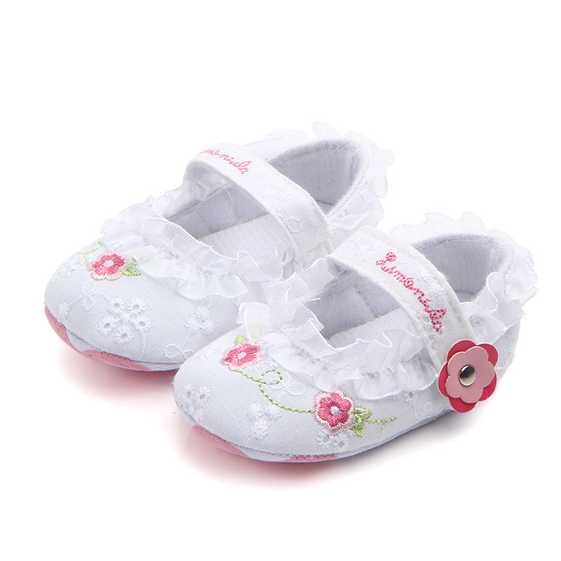 Classic Children Baby Kids Boy Girl Lace Flower Embroidery Floor Shoes Autumn Fashion Non-Slip Soft Toddlers First Walkers