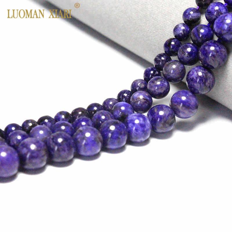 AAA + 100% Charoite Tự Nhiên Đá Quý Đính Đá Hạt Trang Sức Làm Beadwork TỰ LÀM Vòng Tay Vòng Cổ/8/ 10mm Dây 15.5''