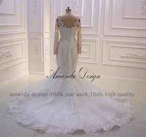 Image 3 - Amanda Disegno robe mariee O Collo A Maniche Lunghe In Pizzo Appliqued Perle Abito Da Sposa Su Misura