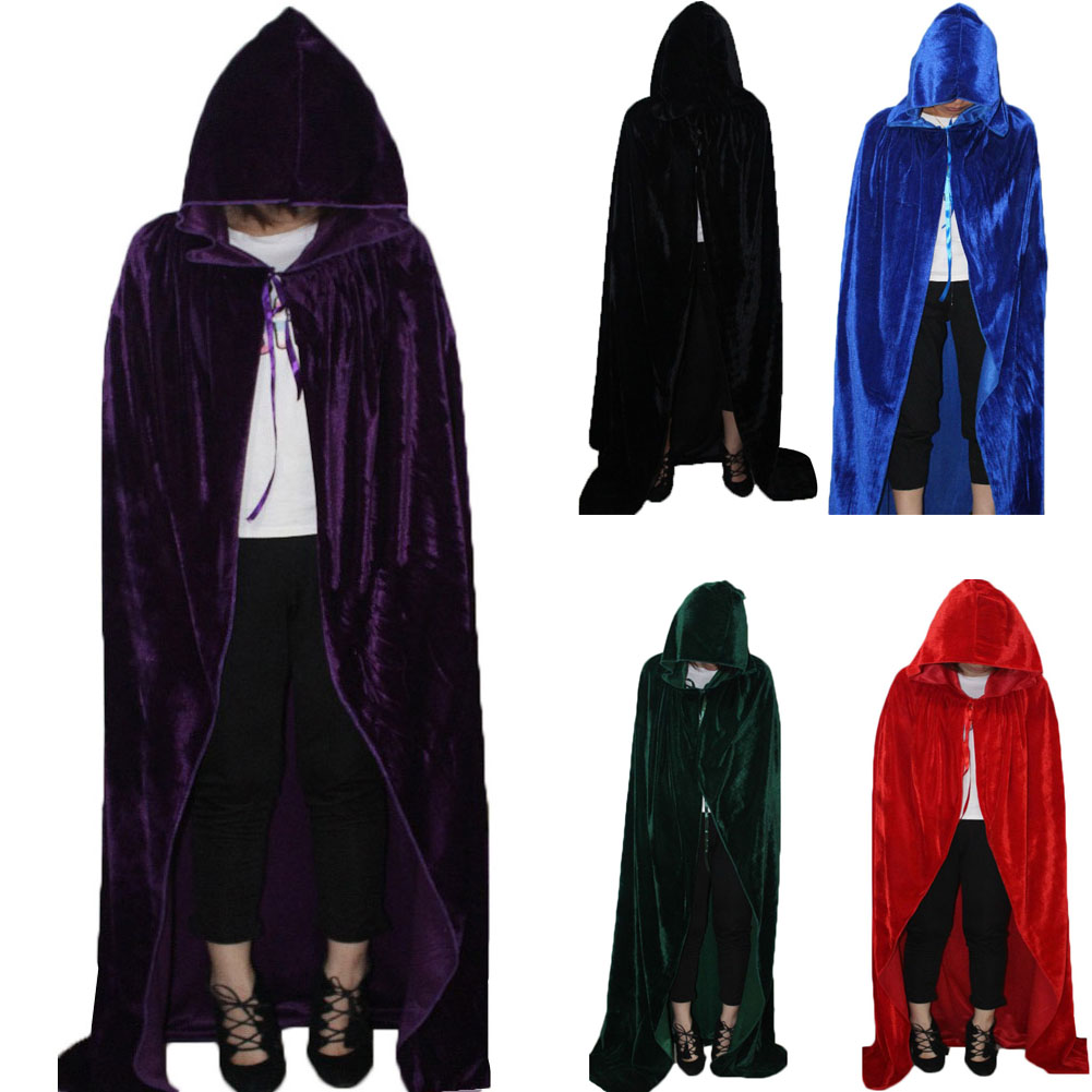 Halloween Party Cosplay Costume Adult Witch Long Cloak Hood Capes Mantle for Women Men -MX8