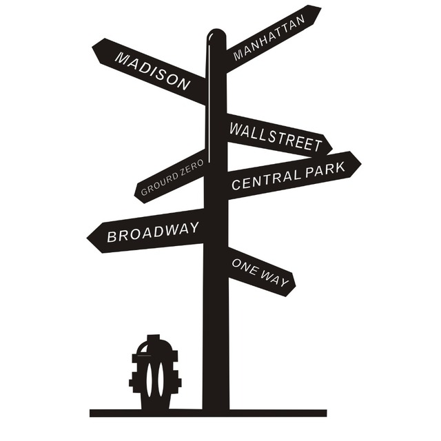 Wall Decal Vinyl Sticker Signpost US New York Broadway Street Central Park Removable House Home