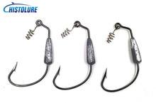 MC&LURE 3pcs/Lot 6g weighted worm hook lead Swimbait Crank hook 5/0# Softbait Fishing Hook bass fishing weighted hook