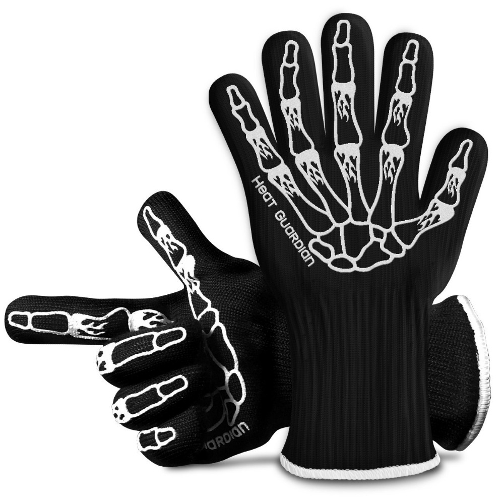 Protective Gloves Withstand Heat Up To 932F Use As Oven Mitts, Pot Holders, Heat Resistant Gloves for Grilling