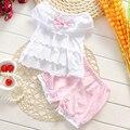 2017 Conjunto de Roupas de Algodão Recém-nascidos Do Bebê Da Princesa Menina do Verão Bowknot Branco T-shirt + Shorts Ternos Infantil Bebe Roupas