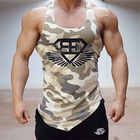 2017 Bodybuilding Mannen Tank Tops Army Camo Camouflage Mens Vest Singlets Stringer Fitness Kleding Mouwloos Shirt