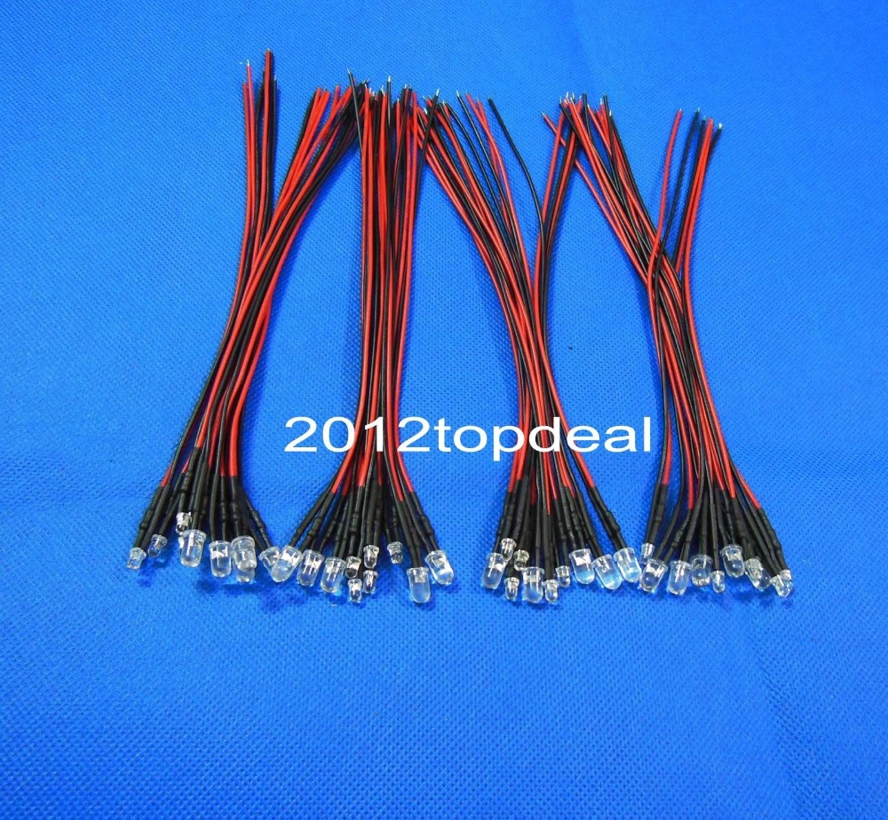10-100 шт 3 мм/5 мм красный/зеленый/синий/RGB 12 В DC круглый Предварительно проводной прозрачный СВЕТОДИОДНЫЙ с пластиковым держателем