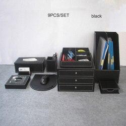 9 unids/set de madera de oficina de cuero escritorio archivo Accesorios de escritorio y organizador cajón de almacenamiento titular de la pluma del Gabinete de archivo de caso K204A