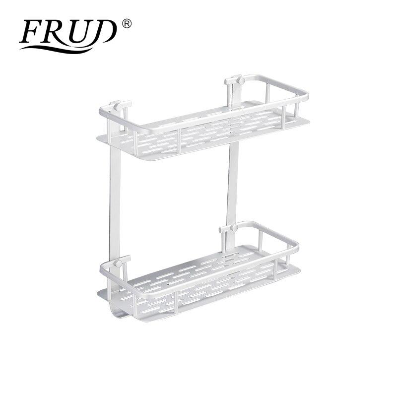 FRUD New Bathroom Shelves Space Aluminum 2 Tiers Corner Shelf Shower Caddy Storage Shampoo Basket Wall Kitchen Holder Y38015-2