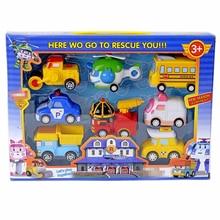 8 шт./лот детские игрушки робот автомобили Вытяните Назад вертолет пожарная машина полиция фигурку автомобили мальчиков куклы подарки игрушки фестиваль подарков # EB