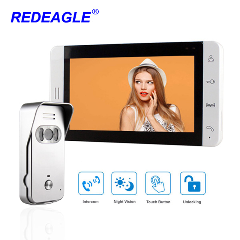Wired Video Door Phone 7 Color Touch Button LCD With 940nm IR Night Vision Doorbell Camera