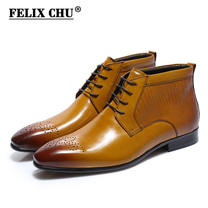 FELIX CHU Genuine Real Leather Men Shiny High Top Dress Shoes Lace Up Round Toe Black Brown Ankle Boots Footwear For Gentleman