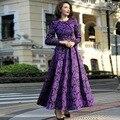 Púrpura Vestido Largo de La Nueva Manera 2016 Otoño Invierno Las Mujeres Jacquard Imprimir Vestido de Bola de Manga Larga de La Vendimia Elegante Desgaste Del Partido
