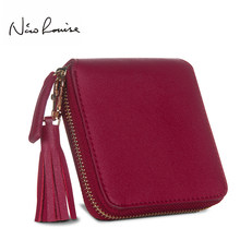 Top Quality Square Women Coin Purses Holders Wallet Female Leather Tassel Pendant Money Wallets Hot Fashion Wine Red Clutch Bag(China)