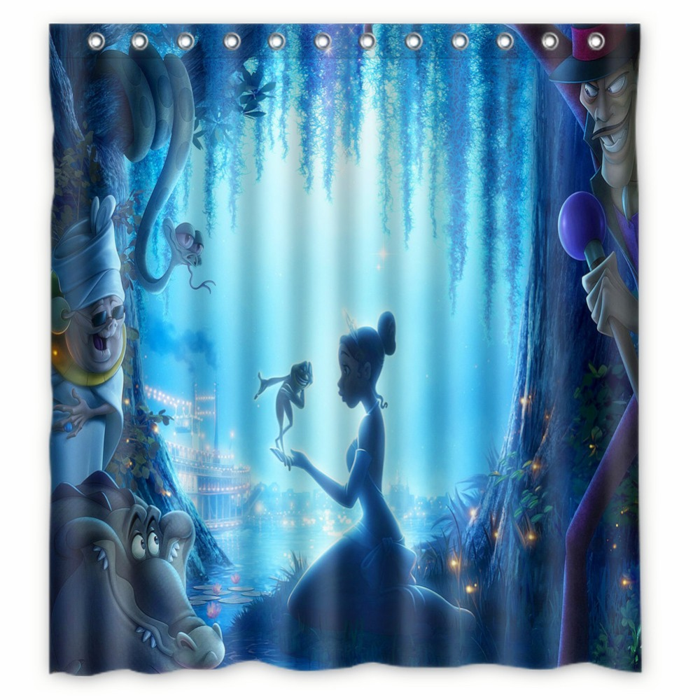 Vixm Home Princess And The Frog Fabric Shower Curtains Mildew Waterproof For Bathroom With Hooks 66x72 Inch