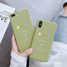 Simple Letters Phone Case For iphone XS Max XR X Floral Case For iphone 6 6s 7 8 Plus Back Cover Hard PC Green Capa Funda Coque stylish floral pattern front back decorative sticker set for iphone 6 4 7 purple green