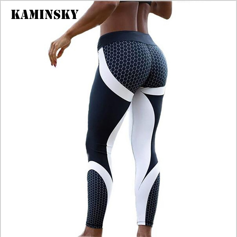 Kaminsky S-XL femmes imprimé Leggings de Fitness sport entraînement Legging Polyester Leggins nid d'abeille numérique vêtements de sport Leggings